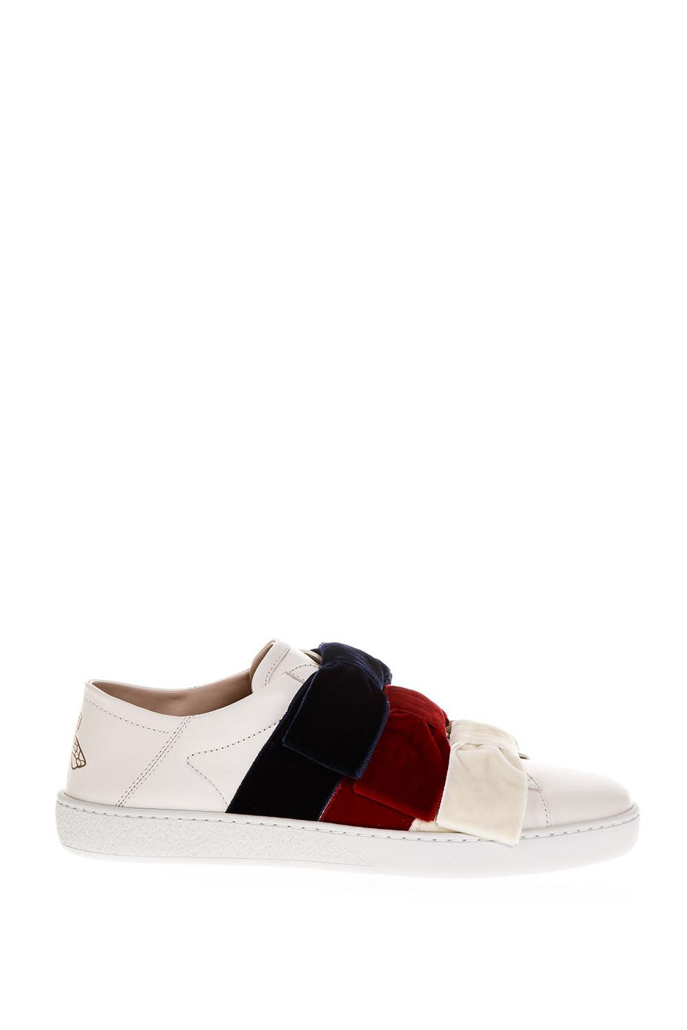 Gucci Ace White Leather Sneakers With Velvet Bow