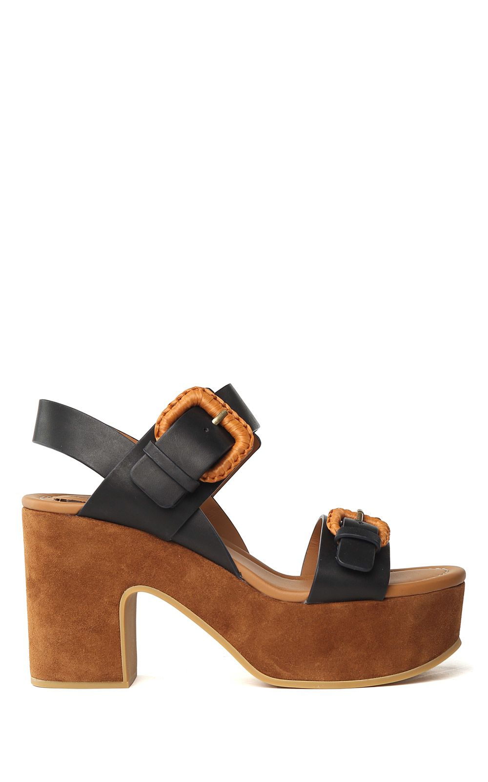 Chloé See By Chloé Woman Suede-trimmed Leather Platform Sandals Size 40
