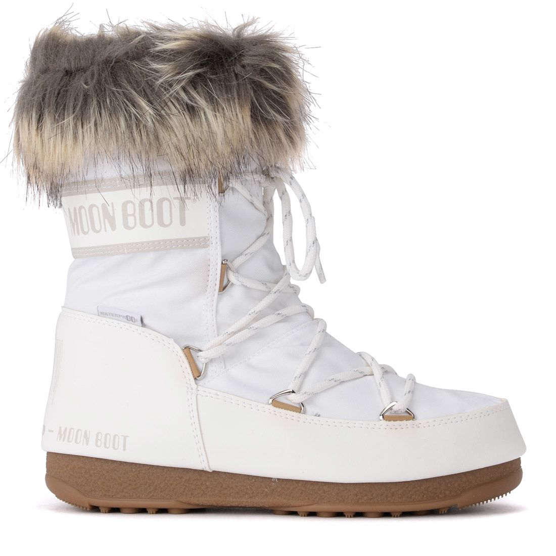 MOON BOOT Monaco Faux Fur-Lined Shell And Faux Leather Snow Boots in Bianco