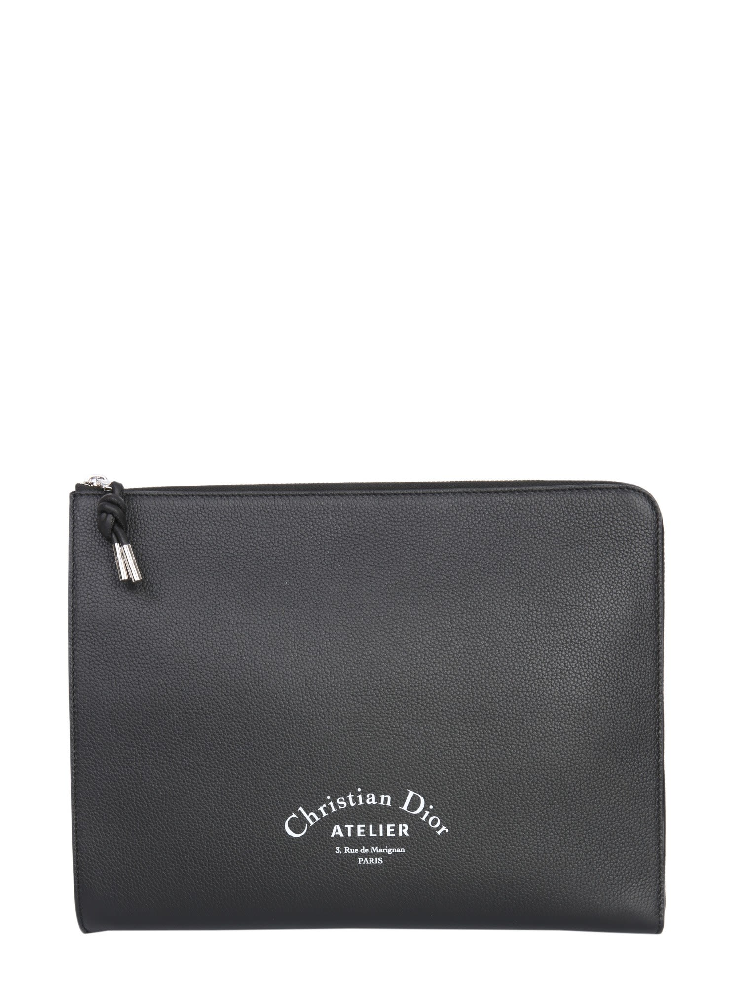 DIOR HOMME Leather Clutch, Nero