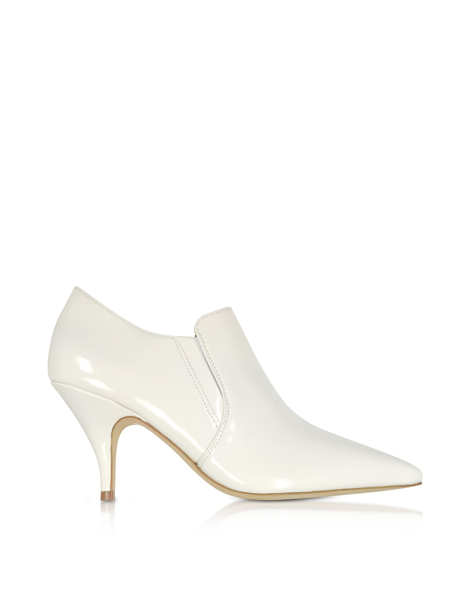 Women'S Georgina Pointed Toe Leather High-Heel Booties in White
