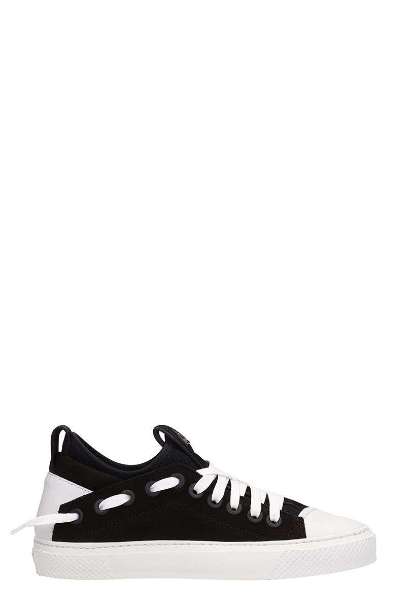 BRUNO BORDESE Triangular Black White Nabuk Sneakers