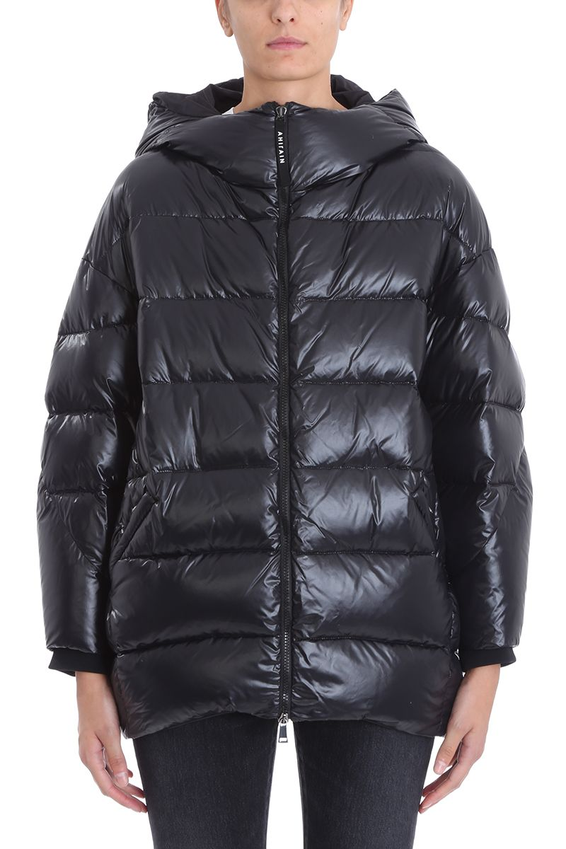 AHIRAIN Black Glossy Nylon Down Jacket