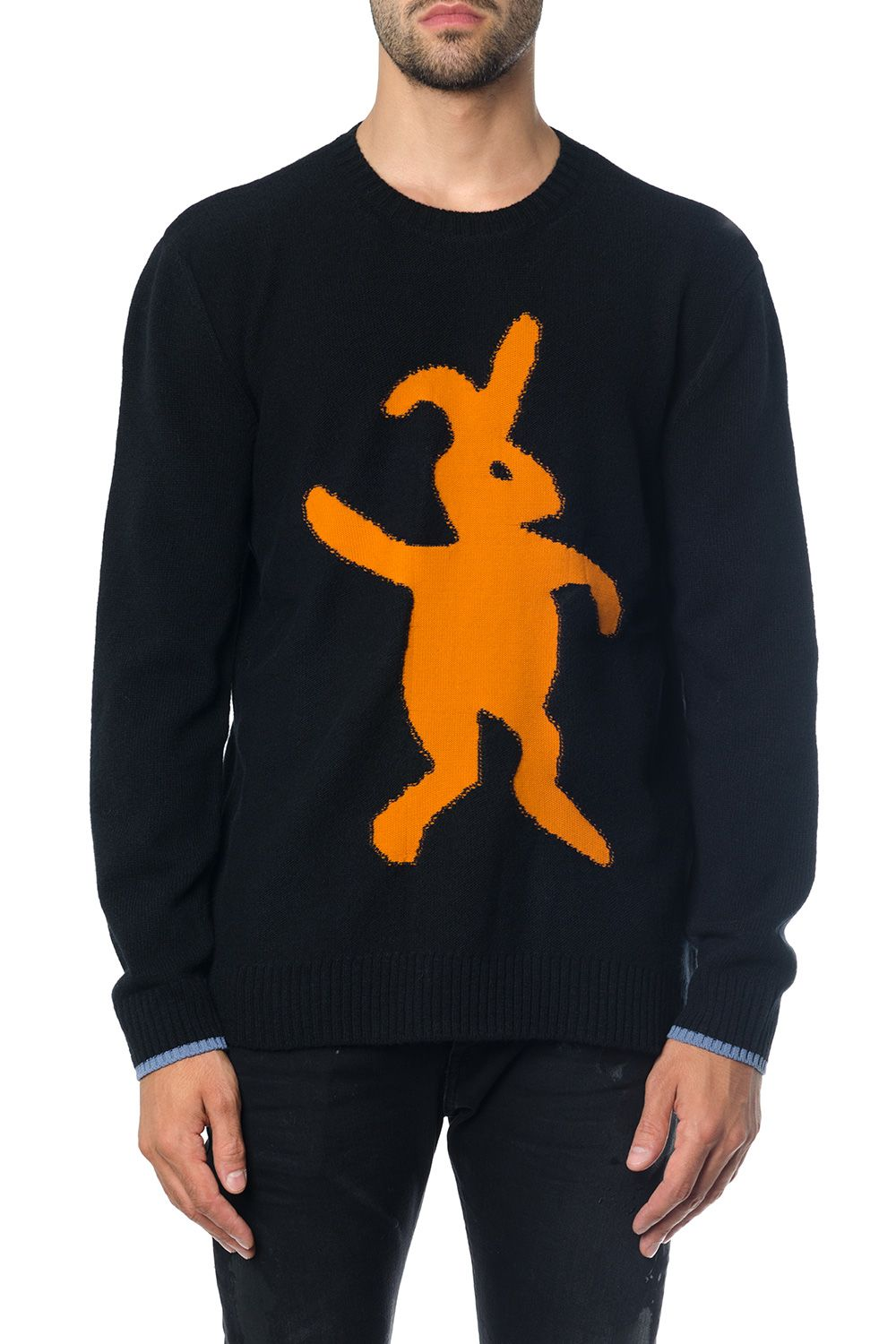 MARNI BLACK WOOL KNITWEAR WITH EMBROIDERED RABBIT
