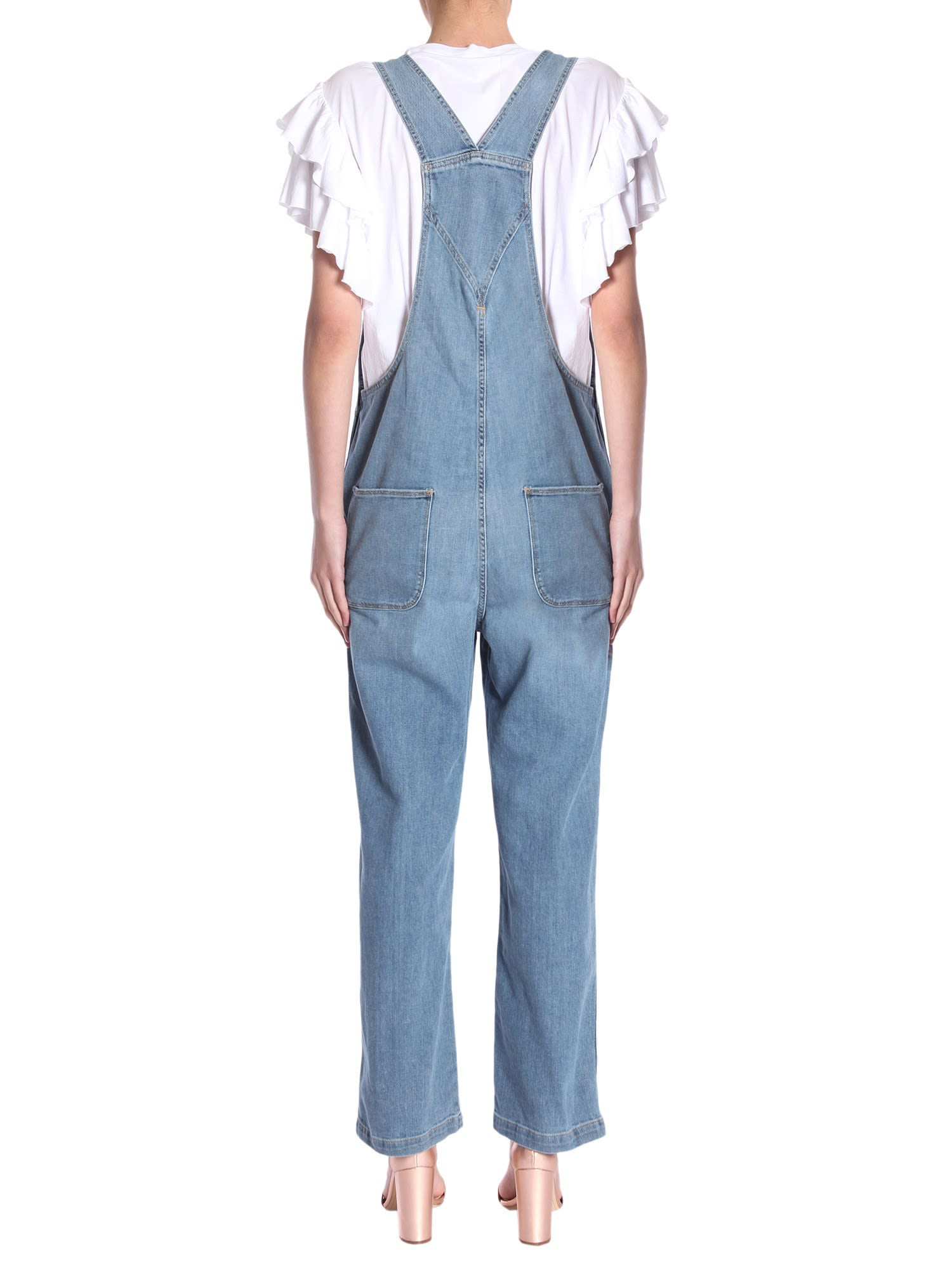 Frame - Le Baggy Dungaree Overrall - DENIM, Women\'s Jumpsuits | Italist