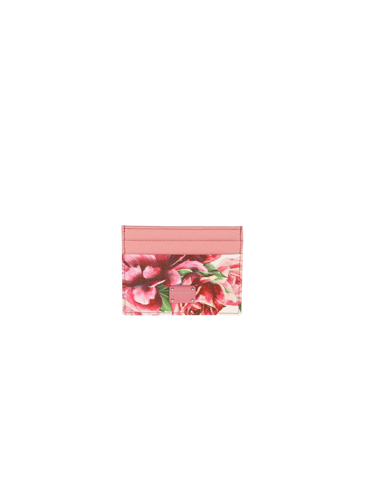 DOLCE & GABBANA CARD HOLDER IN DAUPHINE CALF WITH FLORAL PRINTING