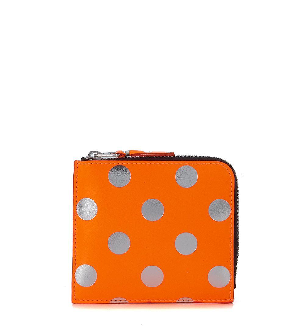 Comme Des Garçons Orange And Silver Laminated Leather Wallet 9242203