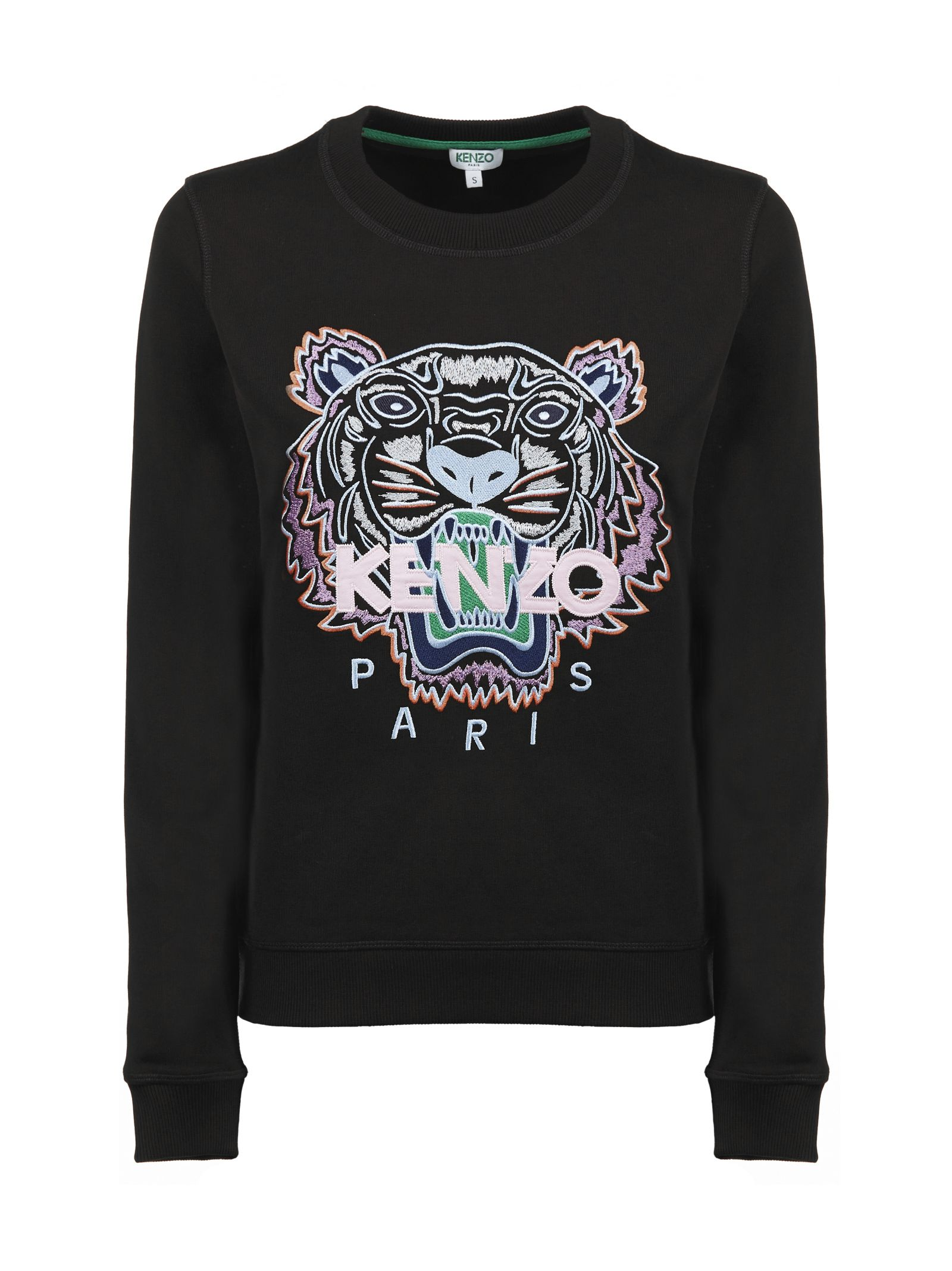 Tiger Embroidered Sweatshirt in Nero Multicolor