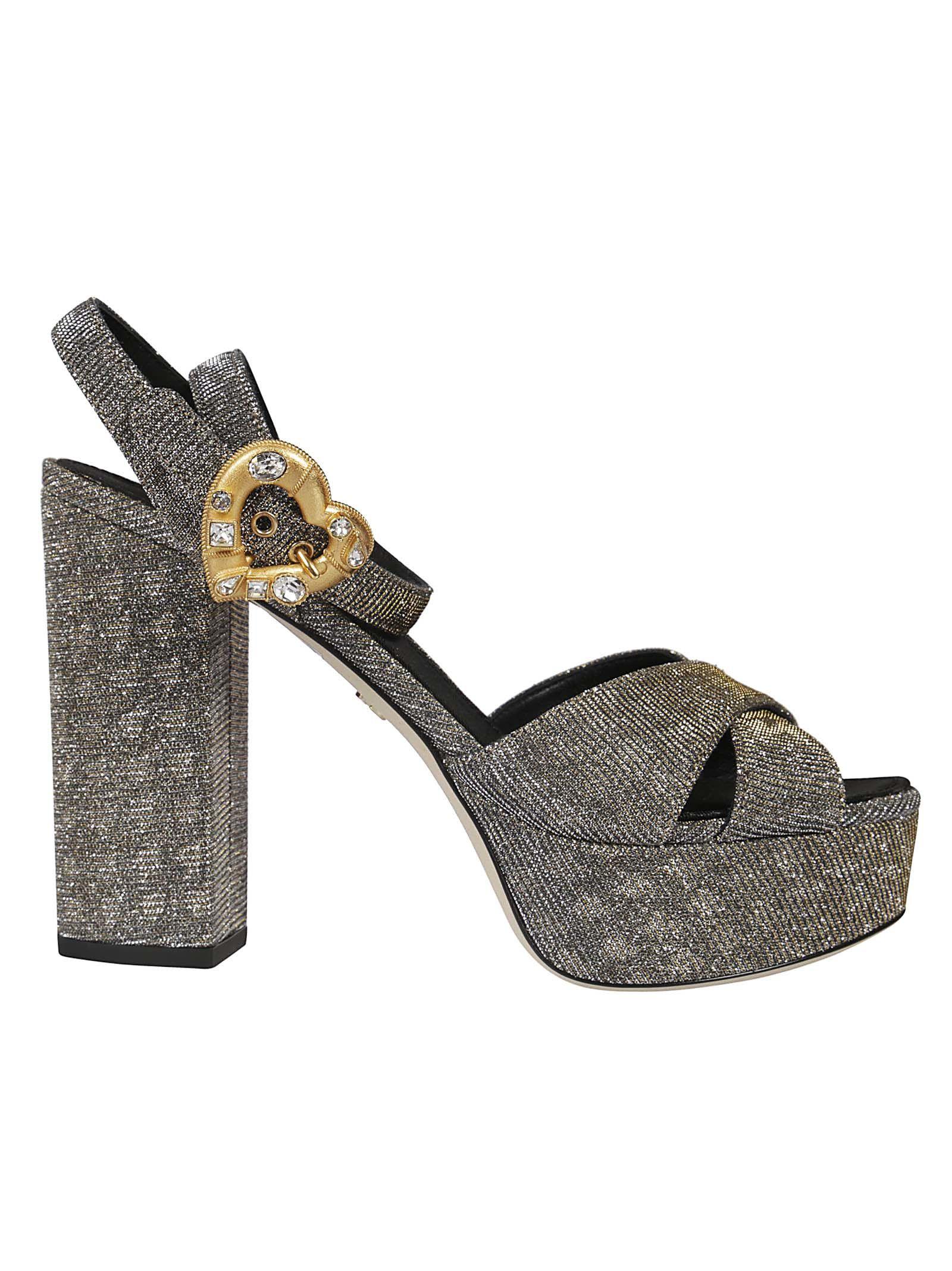 842e85acc7292 Dolce   Gabbana Heart Buckle Platform Sandals In 8Toro-Arge-Nero ...