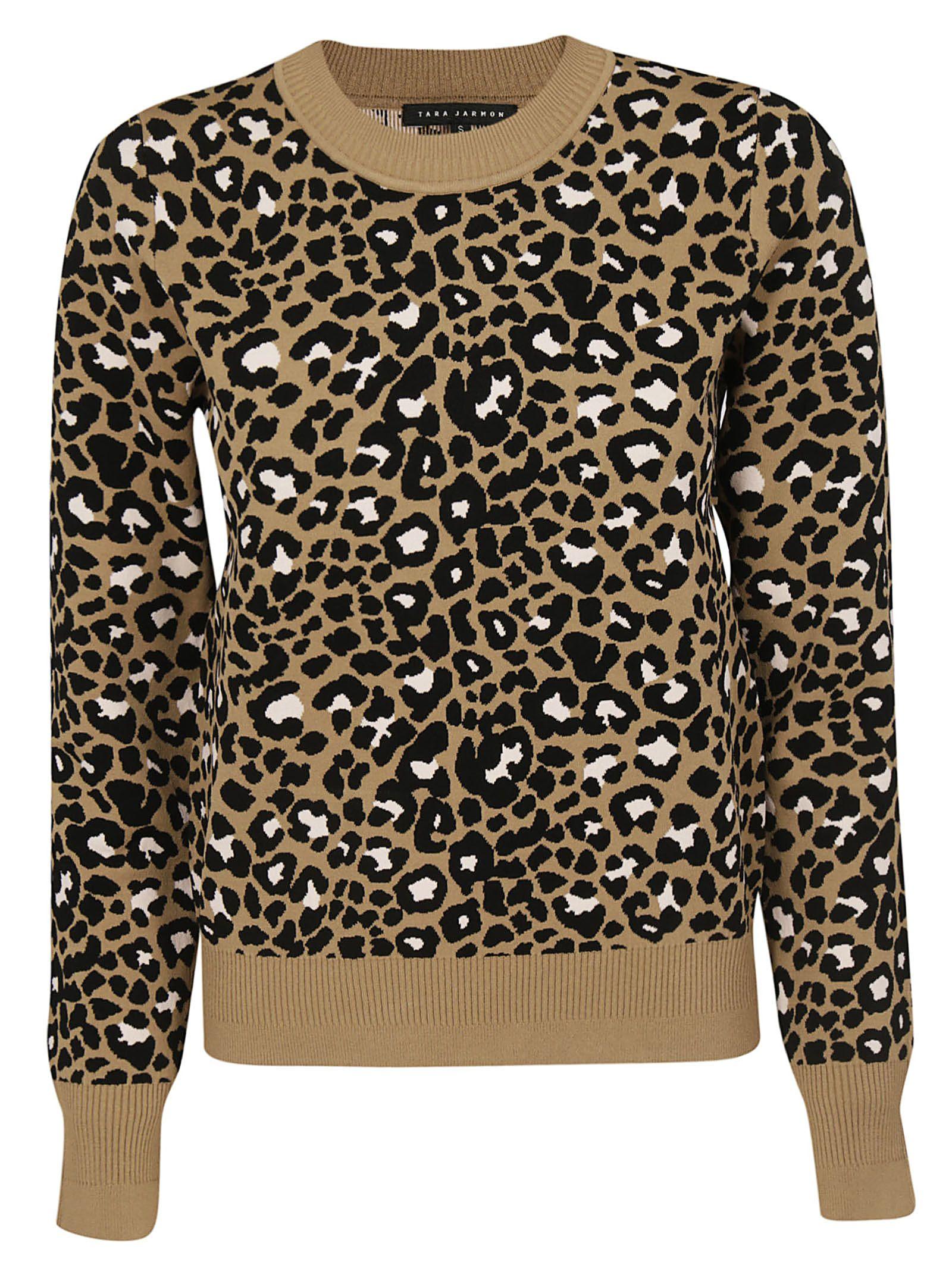 TARA JARMON Leopard Print Sweater in Camel