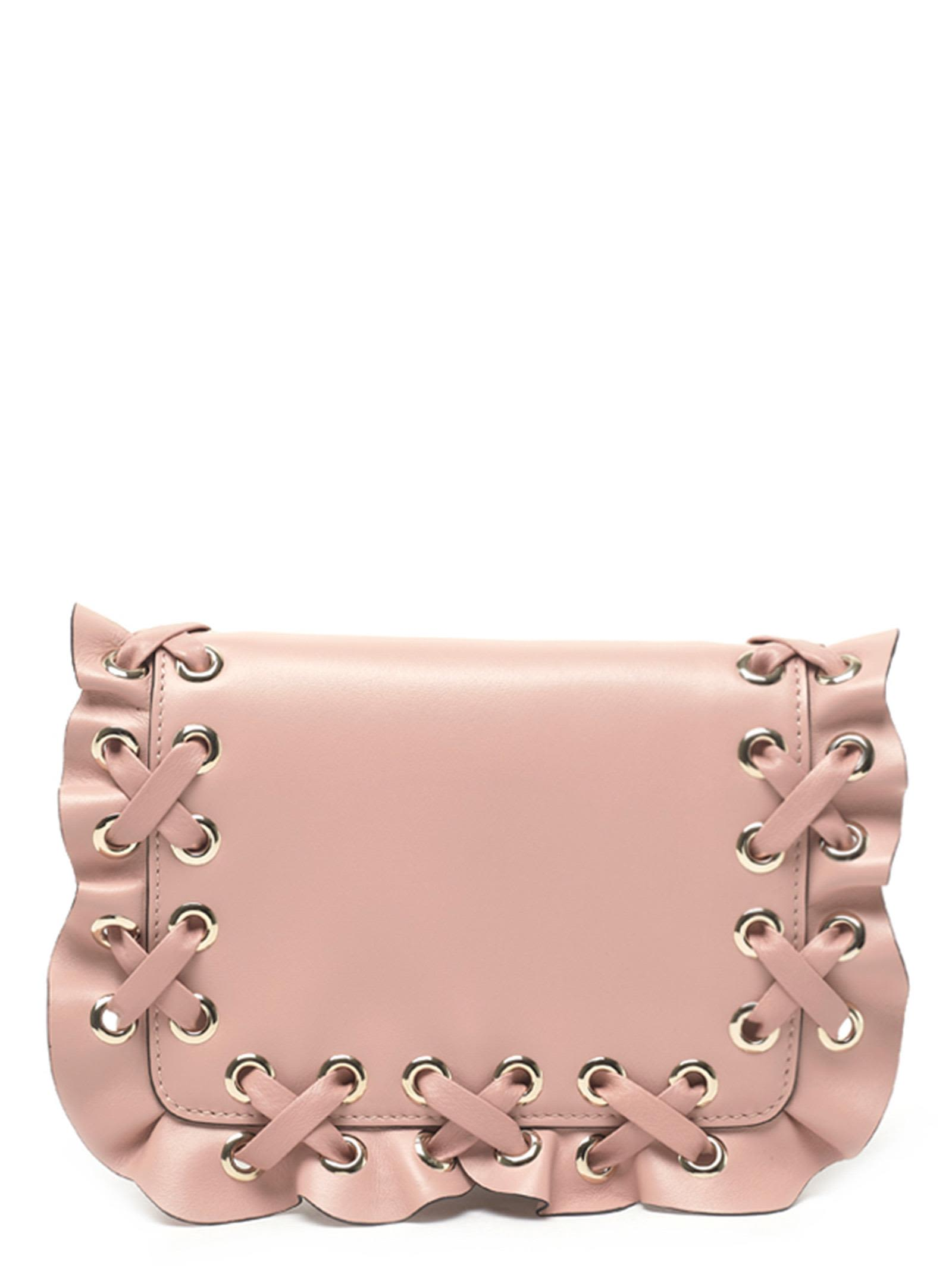 Red Valentino Rock Ruffle Clutch in Pink