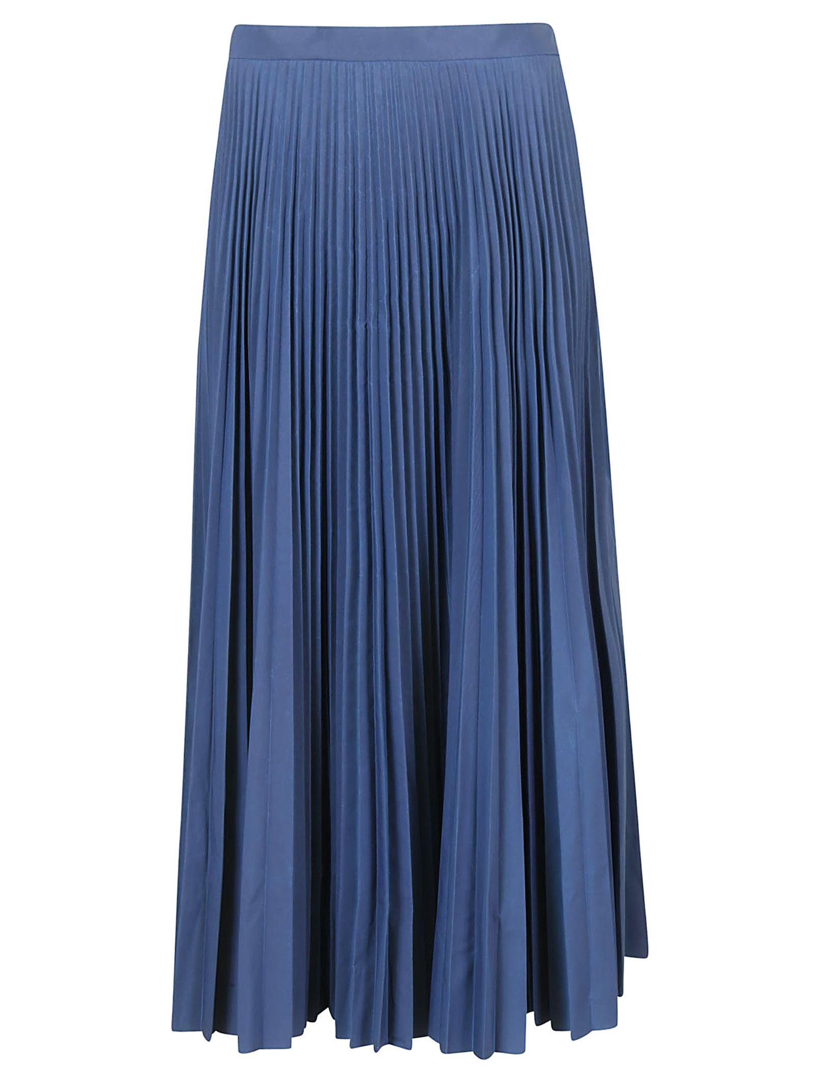Midi Pleatde Skirt In Reflector Fabric, Blue