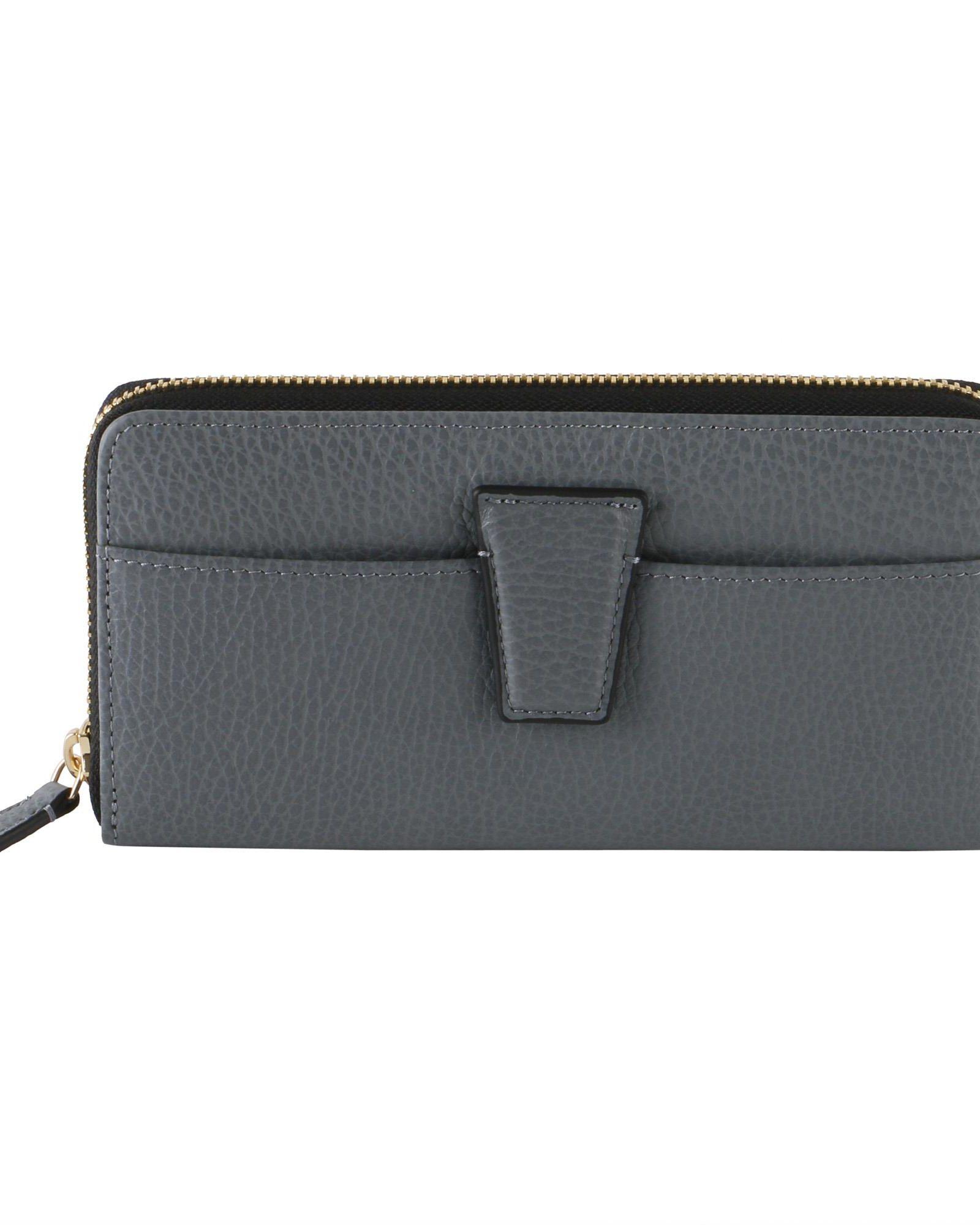 GIANNI CHIARINI Stormy Grained Leather Wallet in Dark Grey