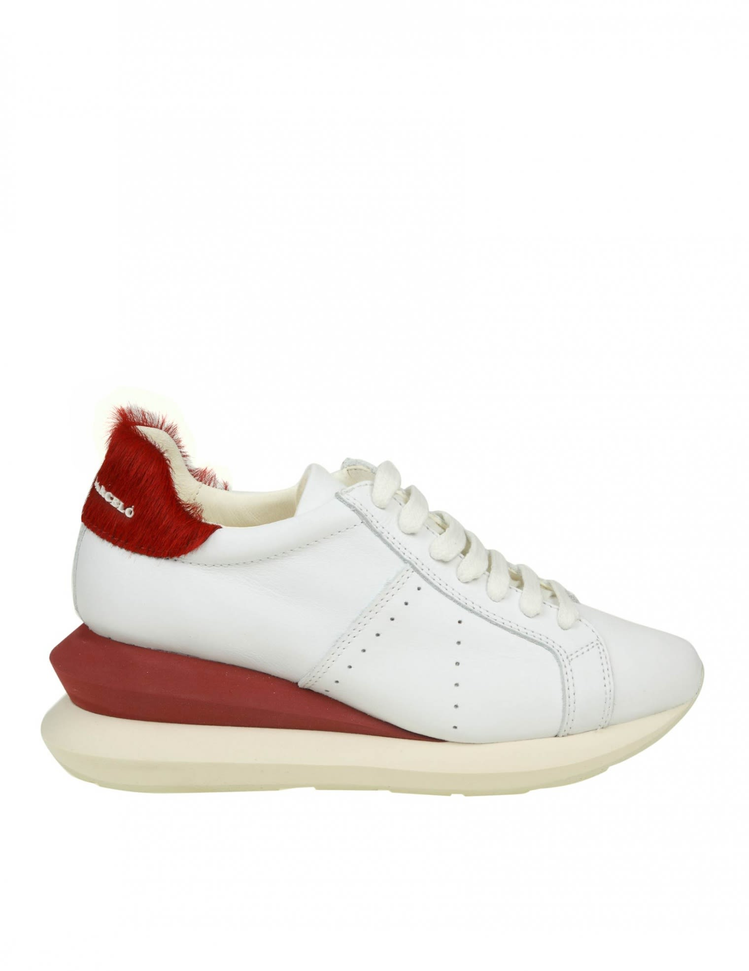 Manuel Barcelo' Sneakers Shoe In White Leather, White/Red