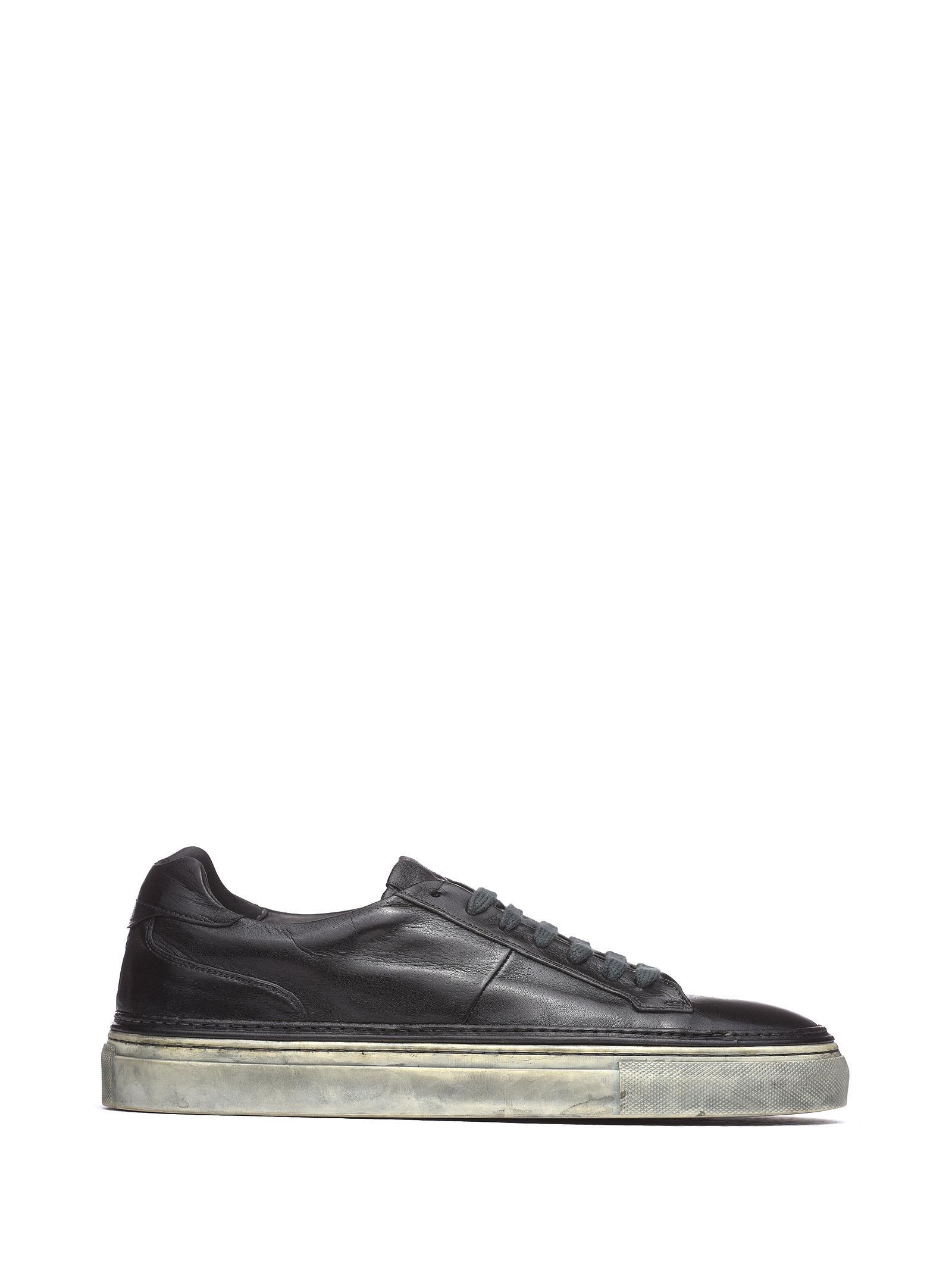 CORVARI Black Leather Sneakers in Nero