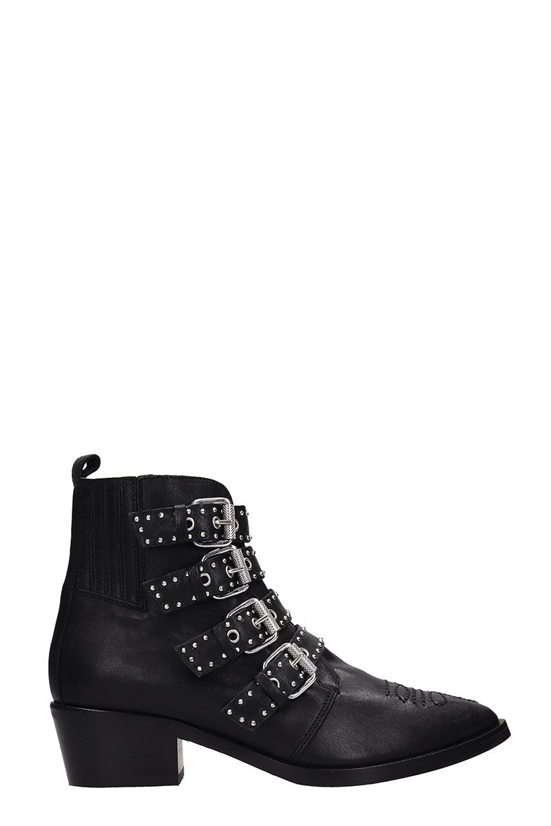 JANET&JANET Black Leather Ankle Boots