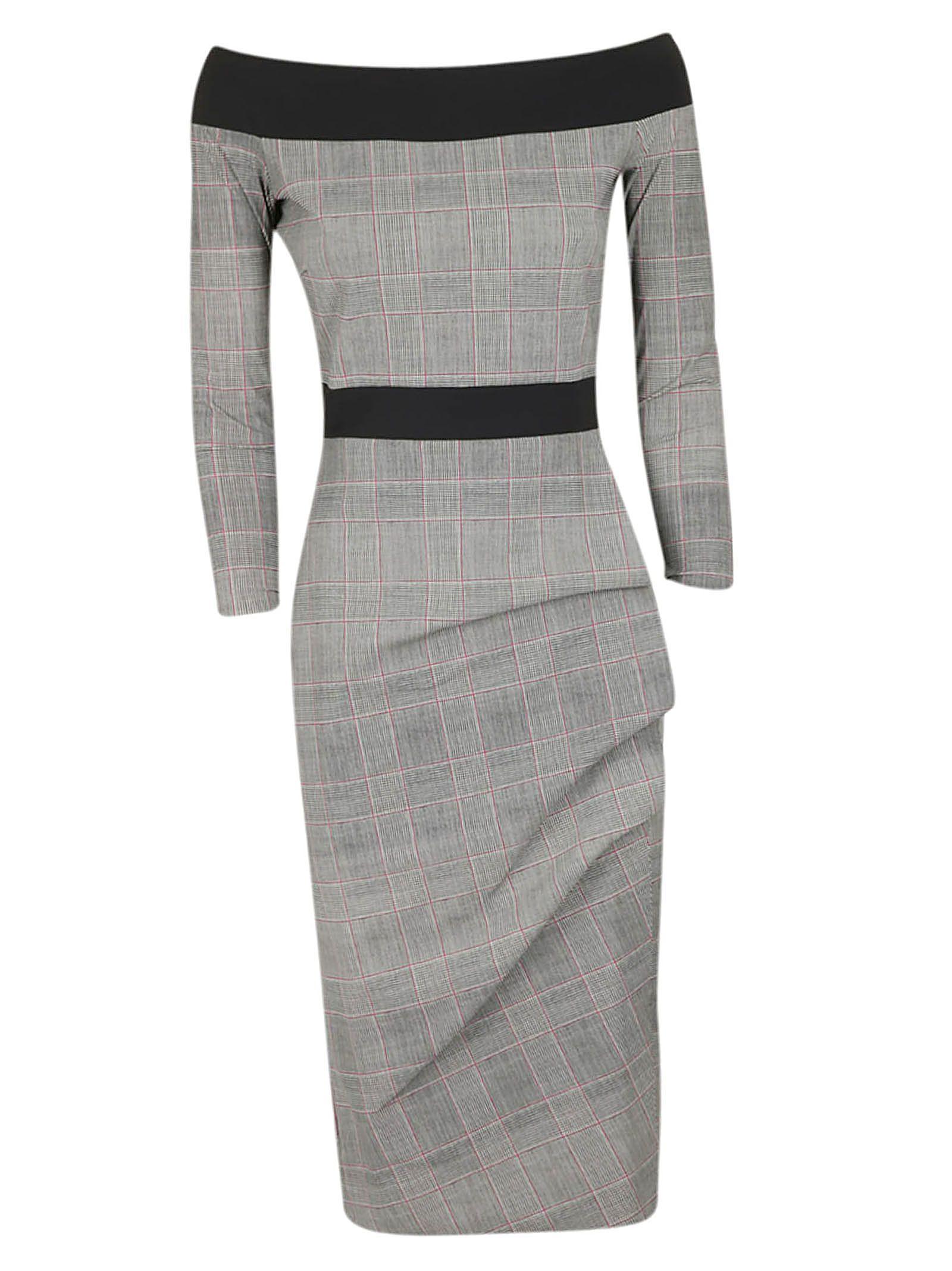 LA PETIT ROBE DI CHIARA BONI Larissa Off-The-Shoulder Dress in Nero/Grigio