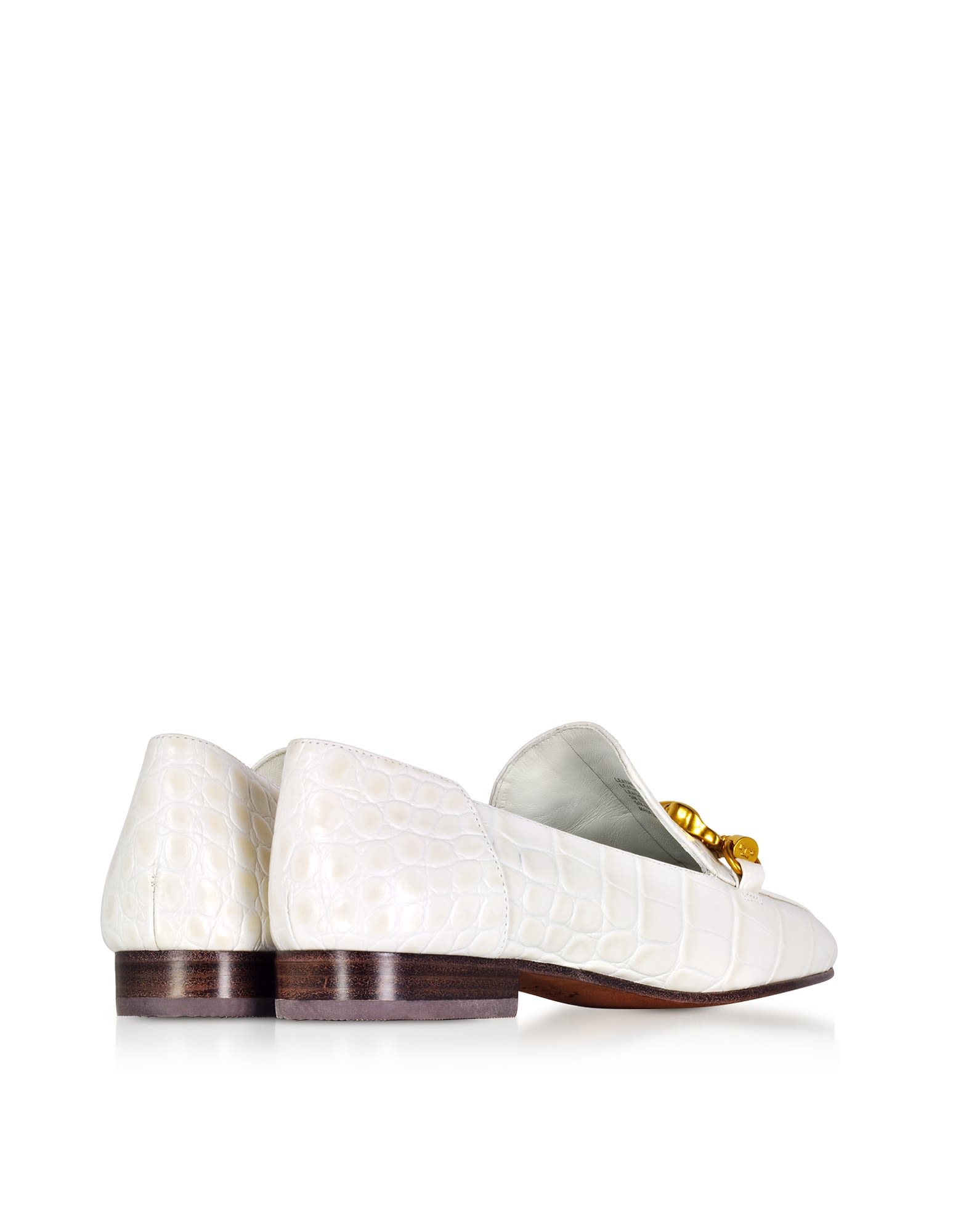 Tory Burch Jessa White Croco Embossed Leather Loafers W-goldtone Horse Hardware Cheap Sale Enjoy Cheap Best Latest Collections For Sale tHlvlX