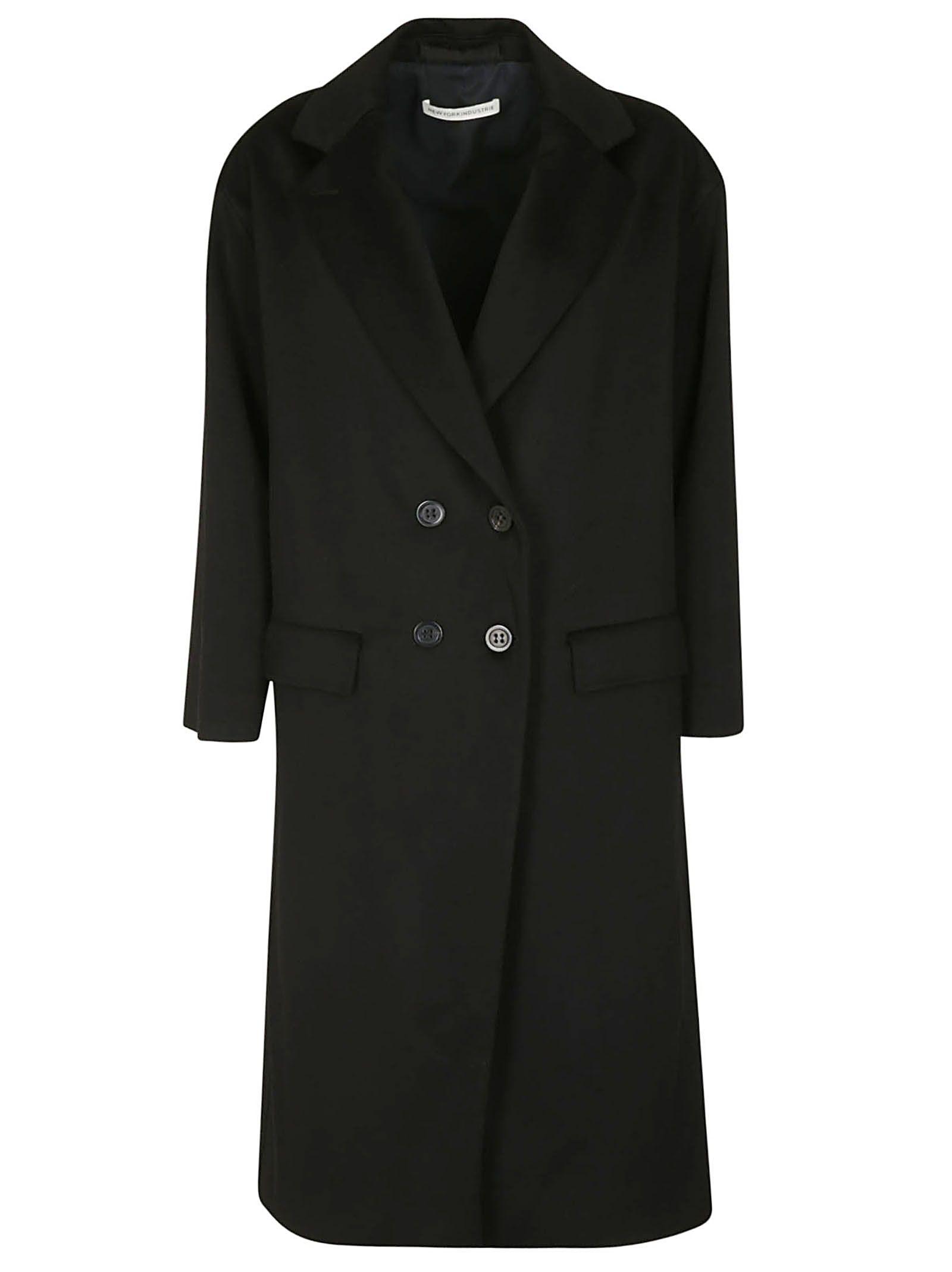 NEWYORKINDUSTRIE New York Industrie Double Breasted Coat in Black