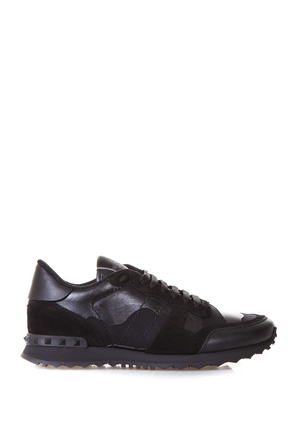 VALENTINO ROCKRUNNER BLACK LEATHER & SUEDE SNEAKERS