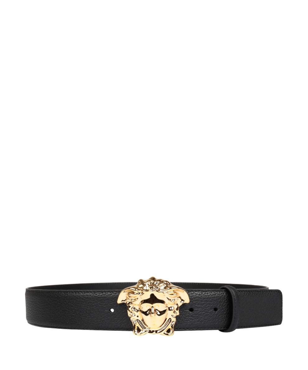 VERSACE BLACK LEATHER MEDUSA BELT