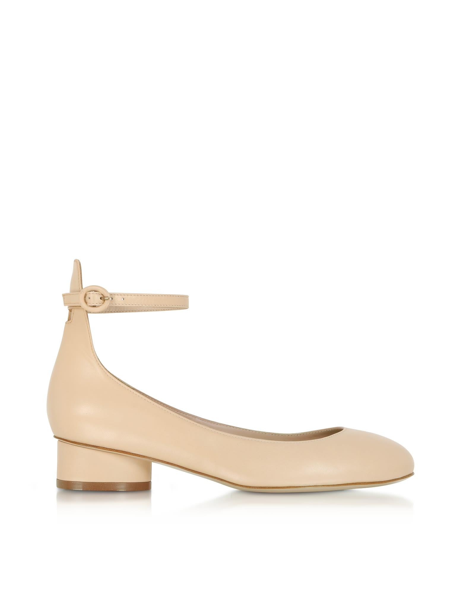 Stuart Weitzman Polly Blush Leather Mid-heel Pumps 10591184