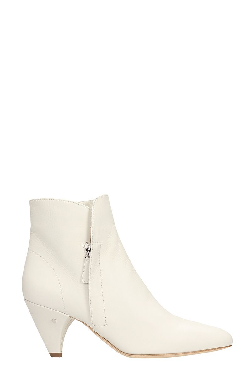 Laurence Dacade STELLA WHITE LEATHER ANKLE BOOTS