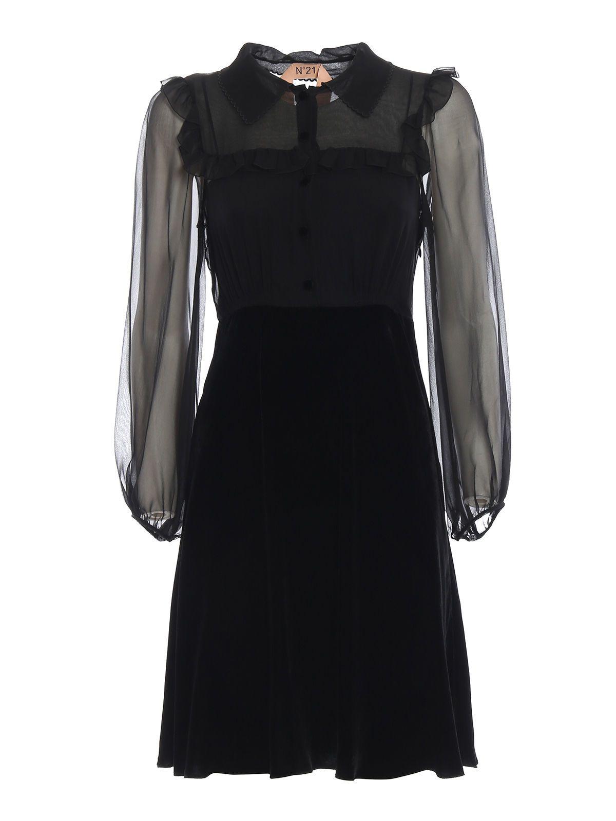CHIFFON-PANELED DRESS