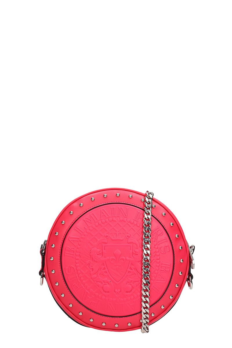 Logo Embossed Shoulder Bag in Pink