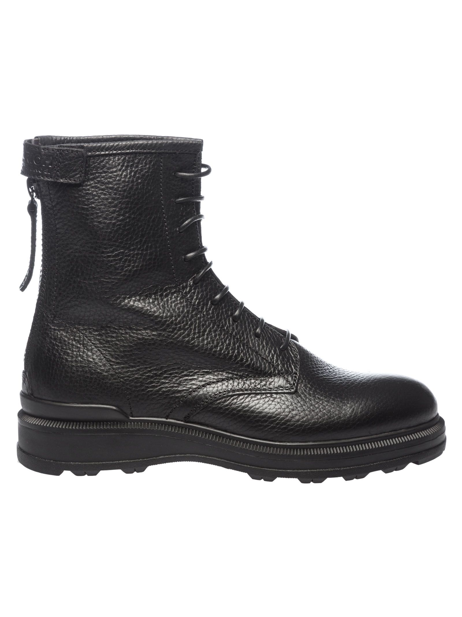 Woolrich Leathers HAMMERED LACED-UP ANKLE BOOTS