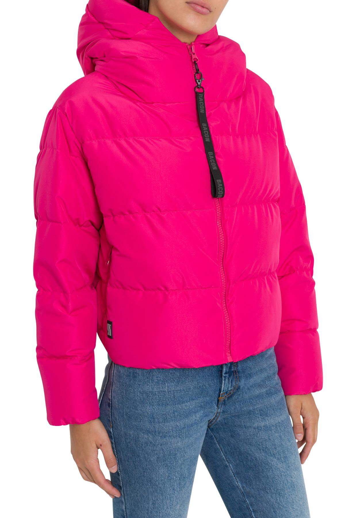 BACON CLOTHING Short Down Jacket With Hodd in Fucsia