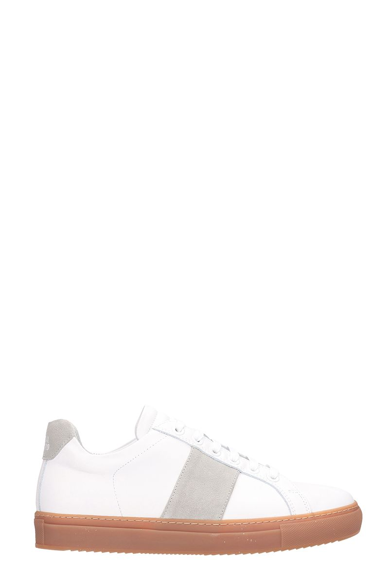 National Standard EDITION 4 WHITE AND GREY LEATHER SNEAKERS