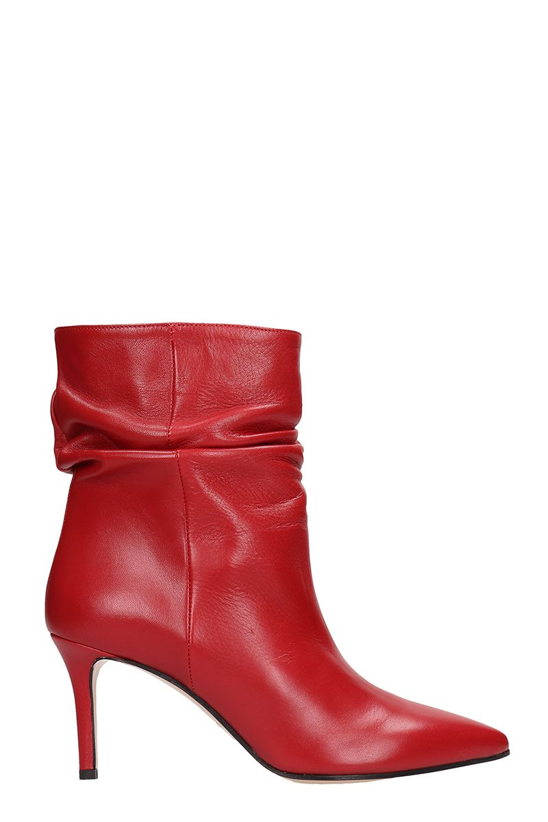 Red Calf Draped Ankle Boots