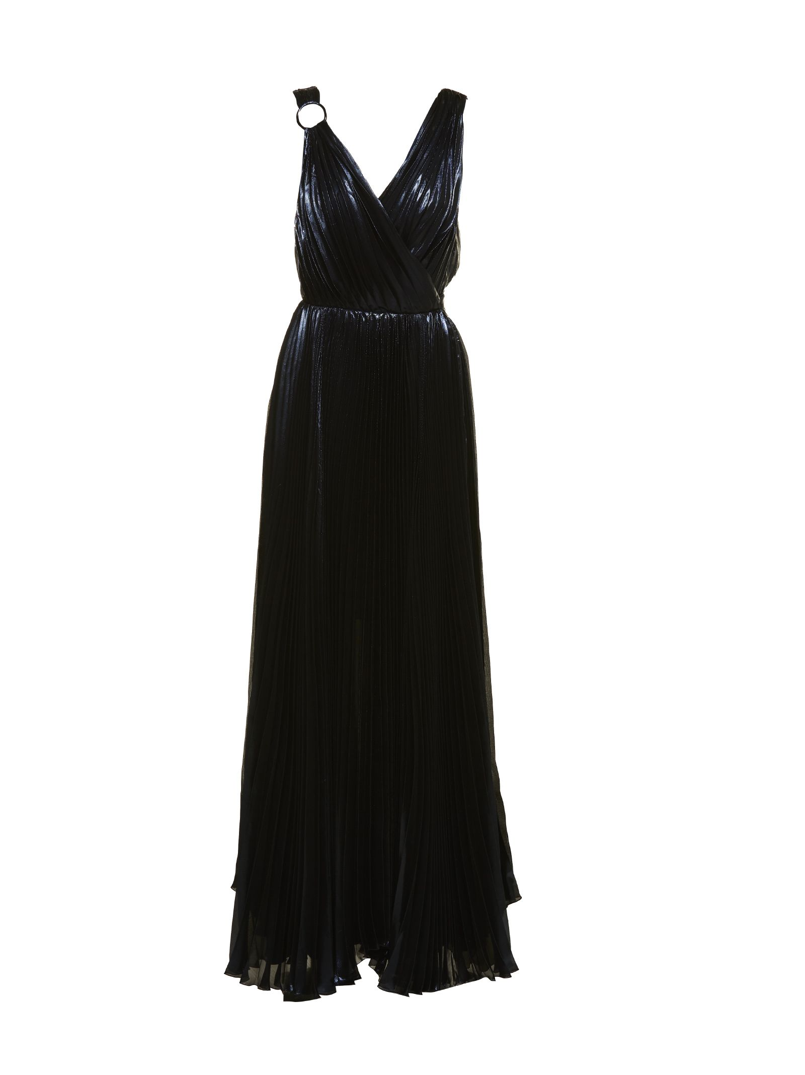 Polka Dots Pleated Long Dress in Black