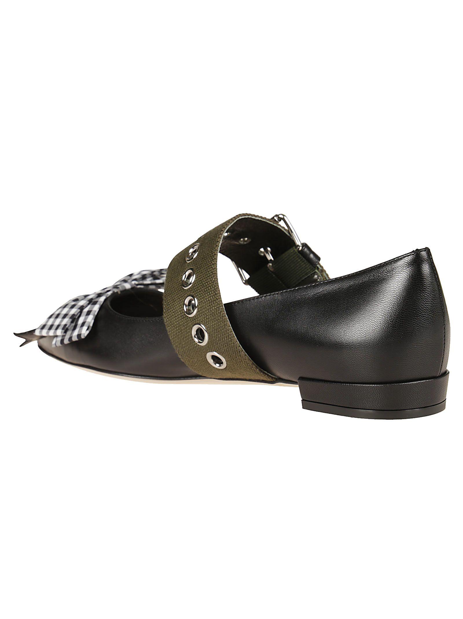 45384b856c0 ... Miu Miu Ankle Belt Strap Ballerinas - Black