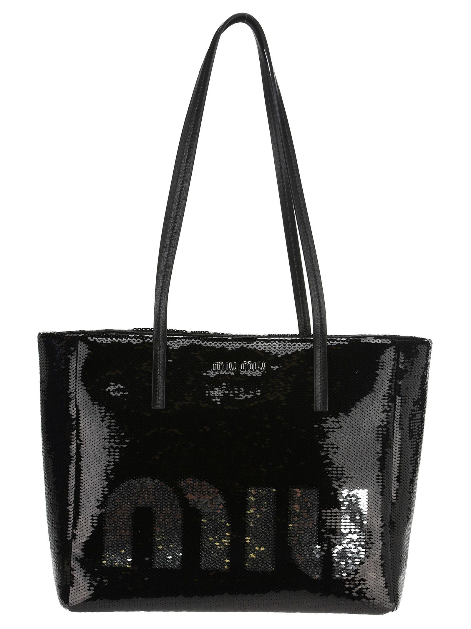 a075c22999e Miu Miu Shopping Logo Pailettes - NERO + ARGENTO ...