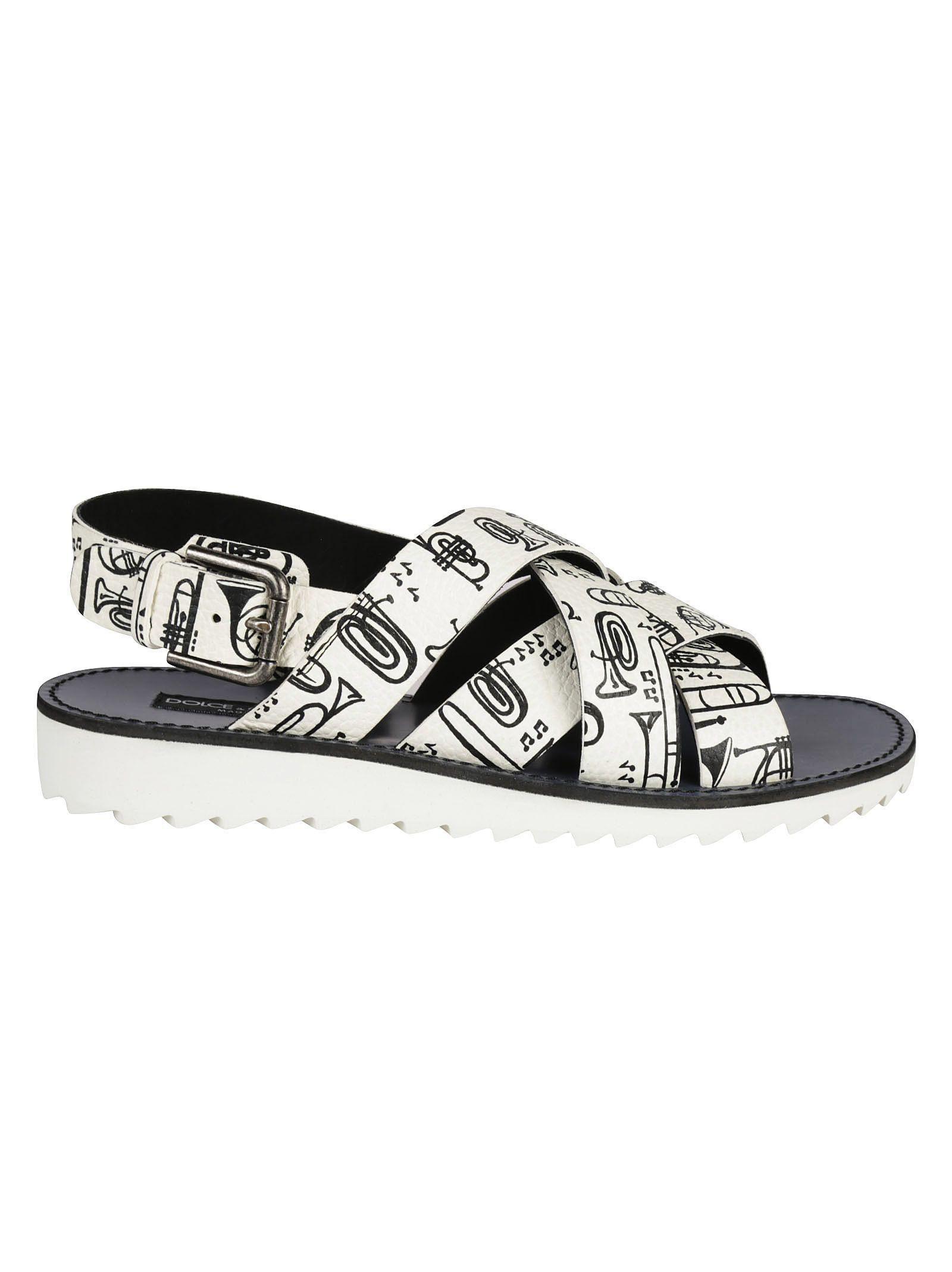 597491823 Dolce   Gabbana Musical Print Sandals - White ...