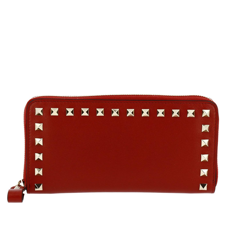 159c805fe2f3 Valentino Garavani Wallet Valentino Rockstud Spike Continental Wallet With  Zip Around And Studs Edges - red ...
