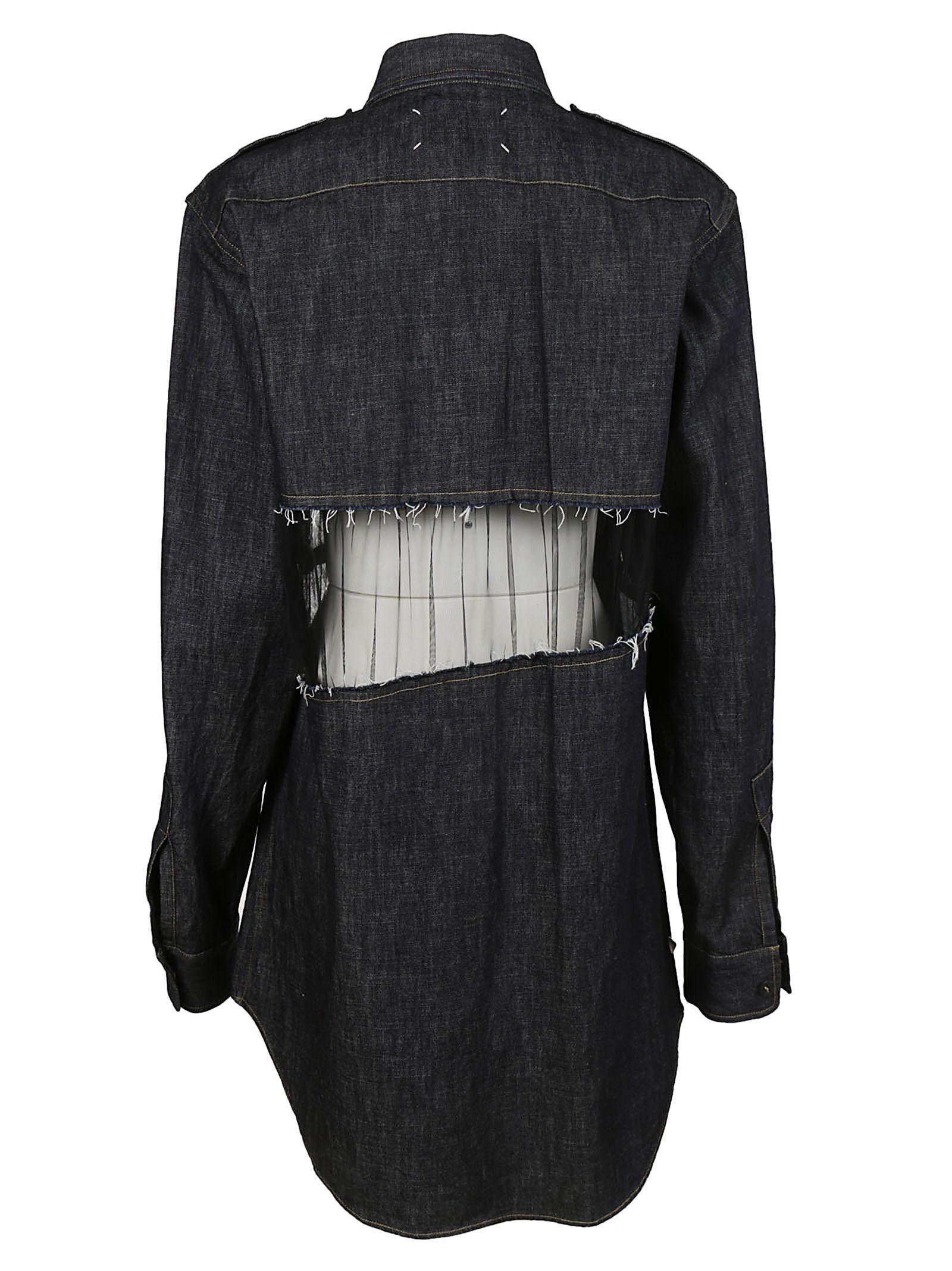 Vestido aberturas con de azul de Margiela camisero Maison detalle OROqng1FU