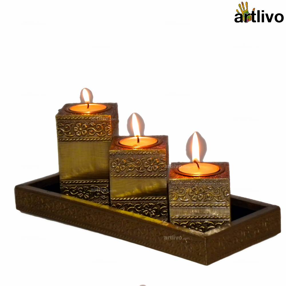 BLING Candle Stands with tray