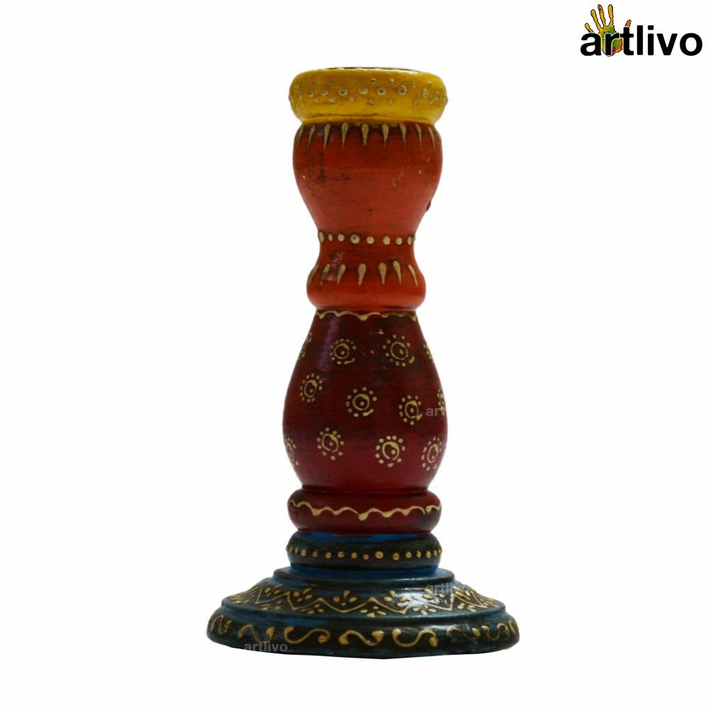 Embossed Multicolor Taper Candle Stand