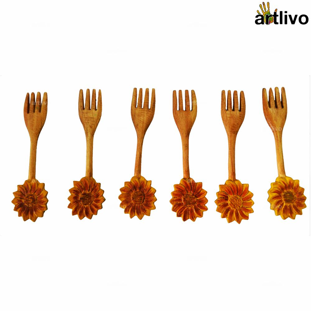Set of 6 Wooden Forks Small