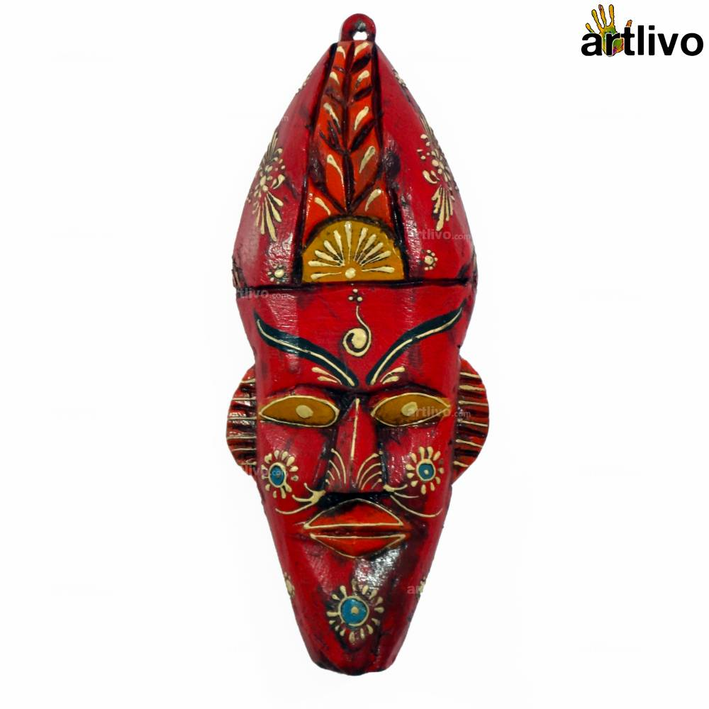 EMBOSSED Red Wooden Elf Face
