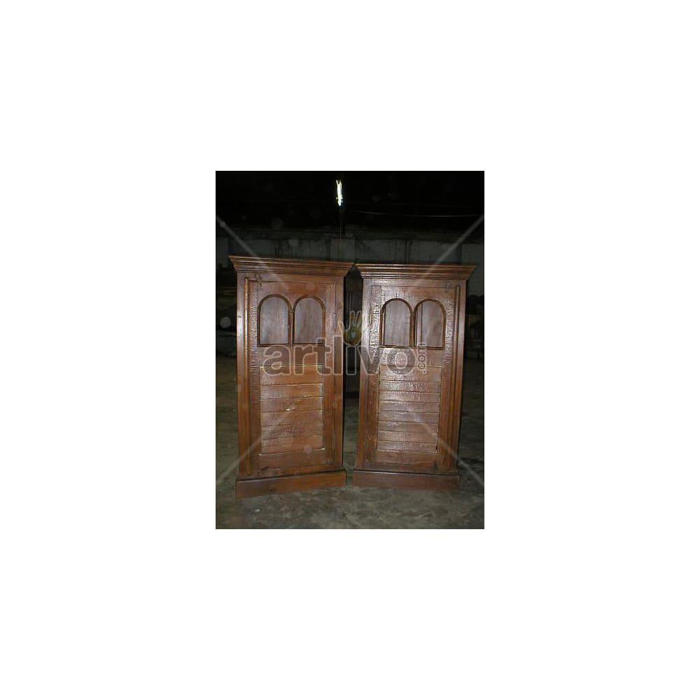 Old Indian Chiselled Magnificent Solid Wooden Teak Bookshelf