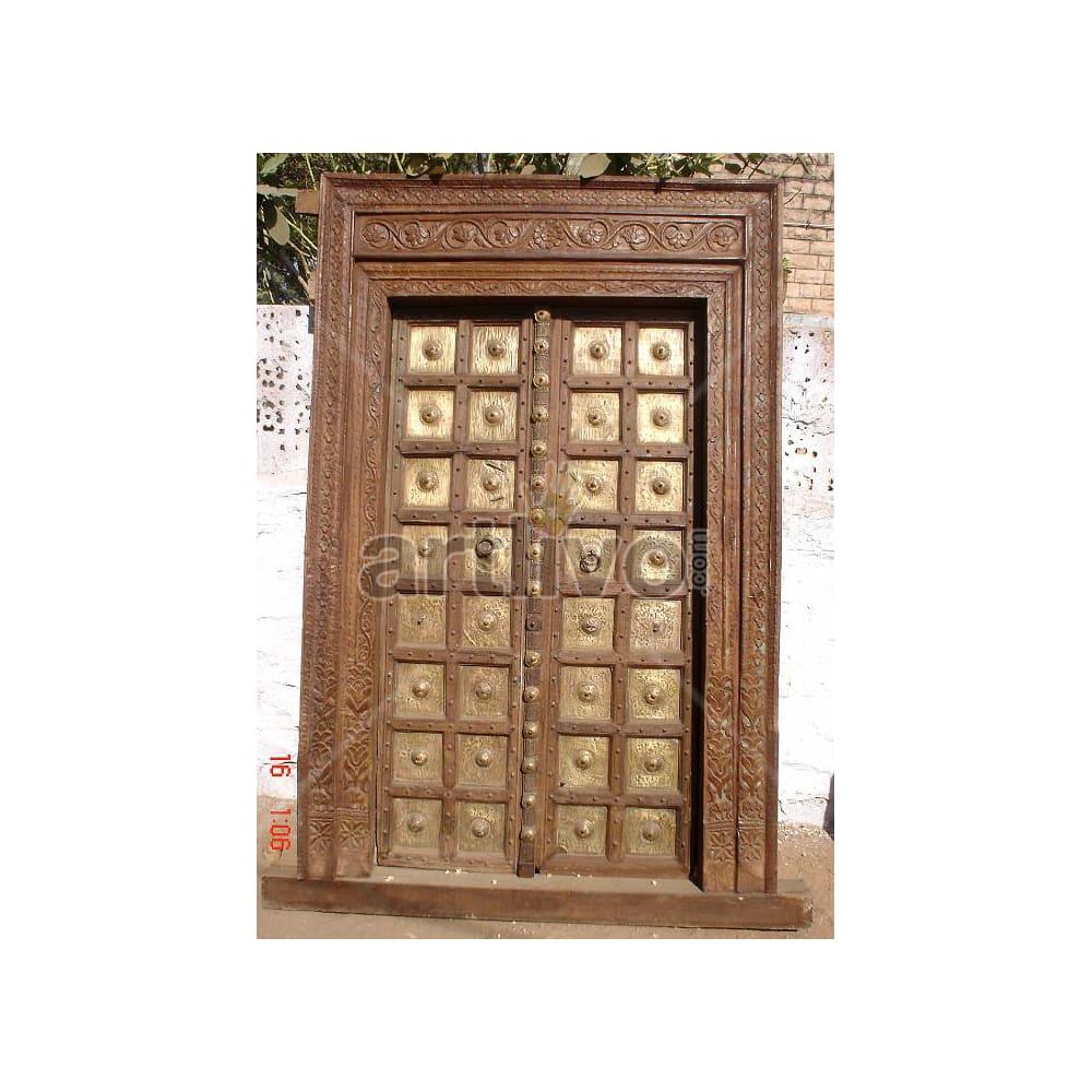 Vintage Indian Carved Rich Solid Wooden Teak Door with Brass work