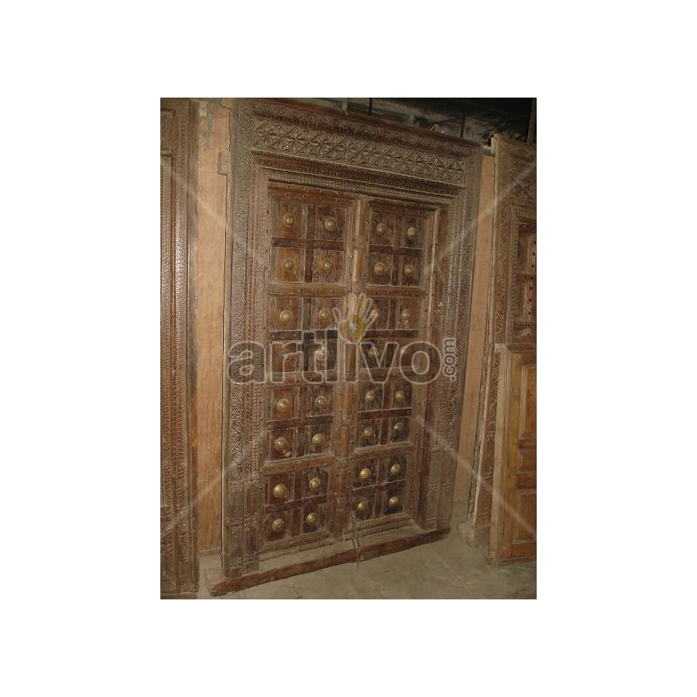 Antique Indian Chiselled Splendid Solid Wooden Teak Door