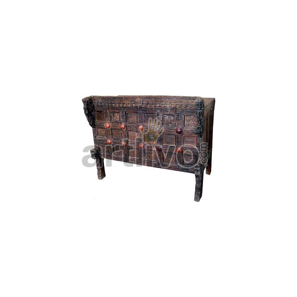 Antique Indian Carved Splendid Solid Wood brown color with chiseled wood art Trunk