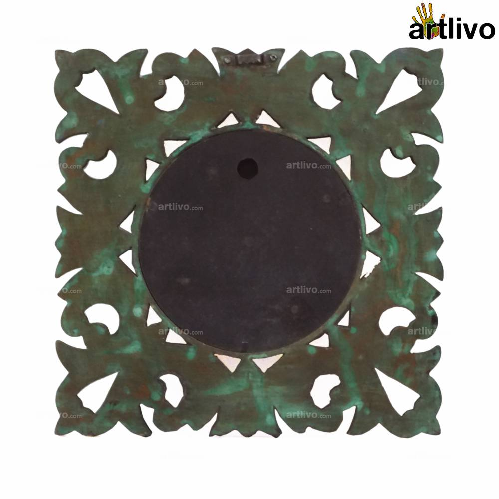 """POPART Green Carved Square Wall Clock 12"""""""