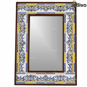 22 Inches Handcrafted Decorative Matrix Wall Hanging Tile Mirror Frame