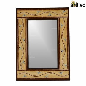 22 Inches Caramel Brown Decorative Wall Hanging Tile Mirror Frame
